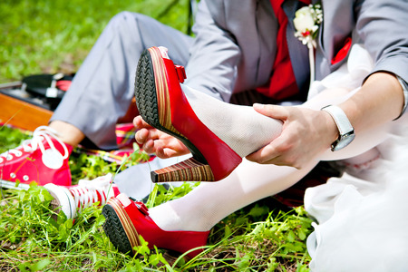 Groom Dresses red wedding shoes bride  photo