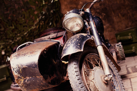 headlight: Retro motorcycle with a trailer, Retro motorcycle with headlight Stock Photo