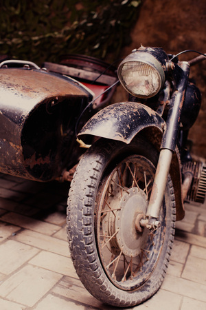 sidecar: Retro motorcycle with a trailer, Retro motorcycle with headlight Stock Photo