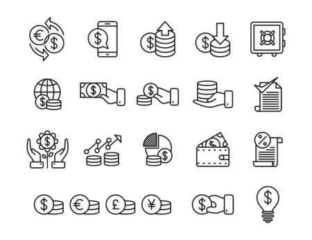 Money line art icon set isolated on white background
