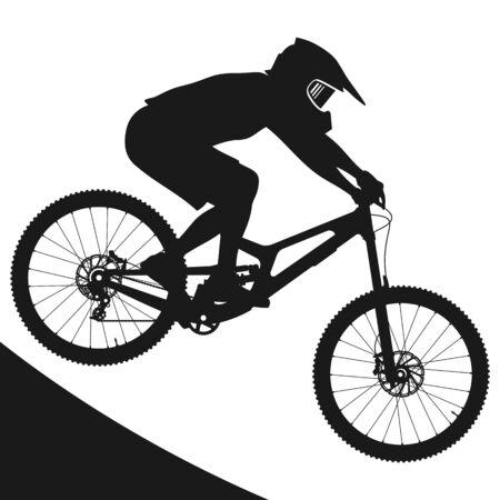 Concept silhouette design illustrator vector of Mountain bike rider jump down hill.