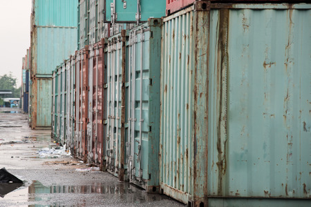 old container: Old container on the ground in shipyard
