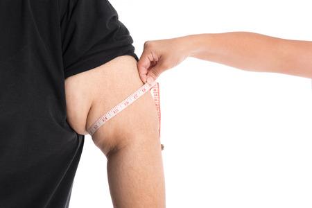 obeso: Primer plano de gran brazo del gordo
