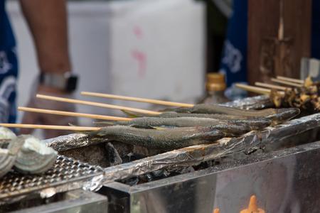 ayu: Close up raw japan fish ayu grill on roaster