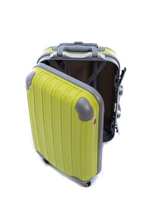 old suitcase: Close up of green luggage on white background isolated