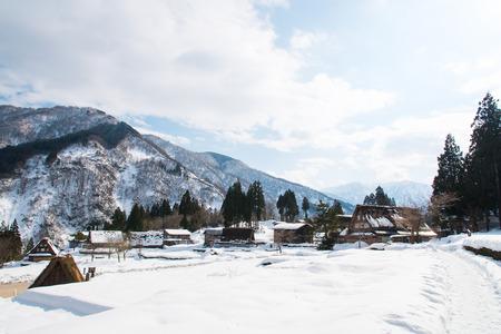 gokayama: Overview of beautiful japanese village in winter gokayama japan.