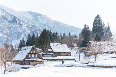 house call: Beautiful wooden house call gassho in winter gokayama japan
