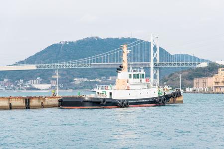 kita: Patrol boat cast anchor at mojiko port kita kyushu fukuoka japan.