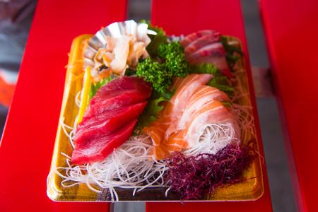 hotate: Japan cheap fresh sashimi from street stall in yufuin fukuoka. Stock Photo