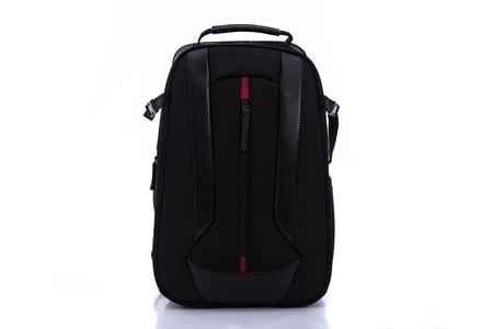 back pack: Close up of black back pack on white back ground isolated. Stock Photo