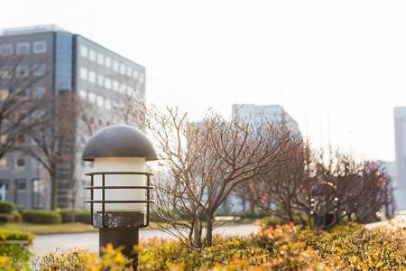 garden lamp: Close up of old iron garden lamp in kanazawa city japan. Stock Photo