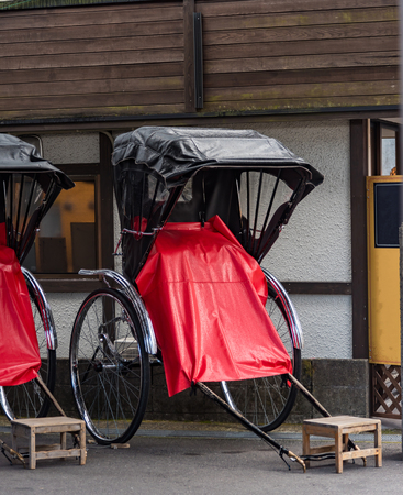 distric: Close up of classic japan cart for travel around old city distric waitting for customer in japan Stock Photo