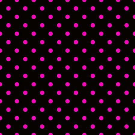 hot pink: Hot pink polka dot pattern on black background seamless.