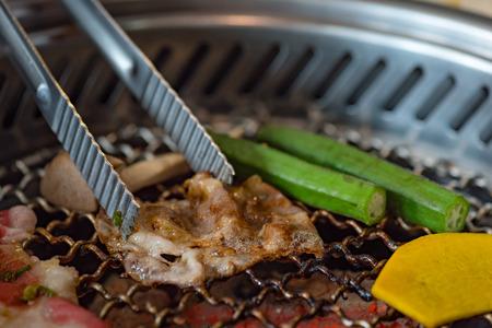 restuarant: Close up of delicious japanese marinated meat grill on charcoal call yakiniku in japanese restuarant  hida takayama japan.