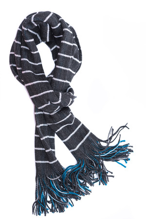 Close up of beautiful dark grey color with white stripe scarf made from cotton fabric on white background isolated.