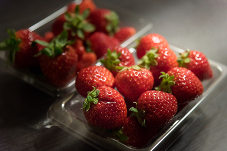 Close up of fresh japan strawberry in plastic box from Aomori Japan.