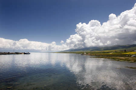 Blue sky and its reflection in the surface of the qinghai hu Stock Photo - 7962728