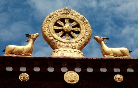 lamaism: Religious building of tibet marked Stock Photo