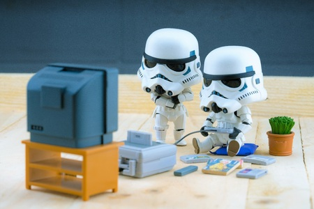 stormtrooper: BANGKOK Thailand - December 18, 2015 : Stormtroopers figure model playing the game, The stormtroopers are soldiers in the Star Wars The Force Awakens Editorial