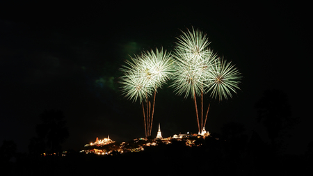 wang: Fireworks festival over Phra Nakhon Khiri Khao Wang, Petchaburi, Thailand