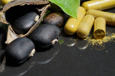 The seeds of Velvet bean or Mucuna pruriens with pill of capsule that contain crushed of mucuna pruriens seed, have been used for traditional medicine, selective focused Stock Photo