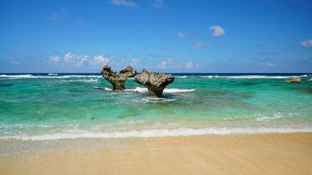 The Heart Rock, Kouri Jima. een van de bezienswaardigheden op Okinawa eiland Japan.