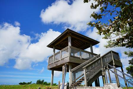 Okinawa, Japan - October 21, 2016: Wooden platform top of View Point at Japanese Navy Underground Headquarters during world war II, Editorial