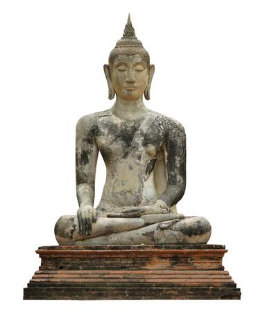 Stucco Buddha image, isolated on a white background. Stock Photo