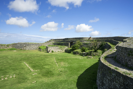 Okinawa, Japan - October 23, 2016: Nakagusuku Castle Ruins Scenery, The famous castle of tourist attraction in Ryukyu kingdom, Okinawa Japan.