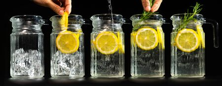 Step By step of collages instruction to make infused water or infused sparkling water with lemon and rosemary bottom with ice cube in dark background.