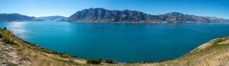 Panorama of lake Hawea. New Zealand.