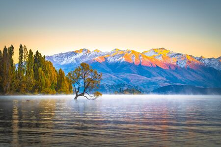 Scenic peaceful of lake wanaka in the morning, One of the place of tourist attraction in New Zealand.