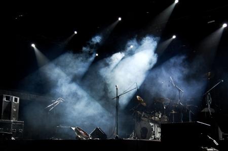rock concert: Etapa en las luces Foto de archivo