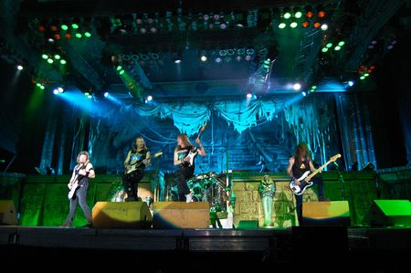 concert lights: Bucharest - Romania, August 4, 2008 - Iron Maiden Performing Live at Cotroceni Stadium Editorial