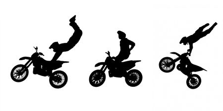 Silhouettes of Motorbike Stunts photo