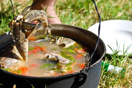 soup kettle: Kettle with fish soup made with ingredients from Danube -fish and water-