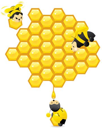 Honeycomb and cute bees