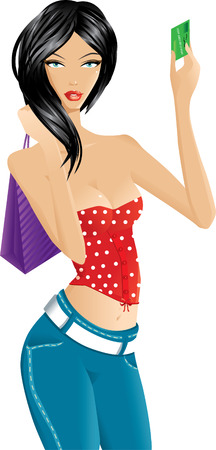 woman credit card: Beautiful woman with purple shopping bag showing a credit card
