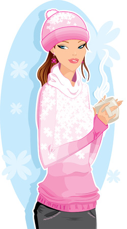 Girl with a hot drink Vector