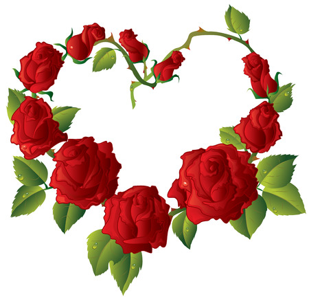 rose frame: Heart shape Framework made of Beautiful red roses