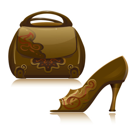 purse: Handbag and shoe  Illustration