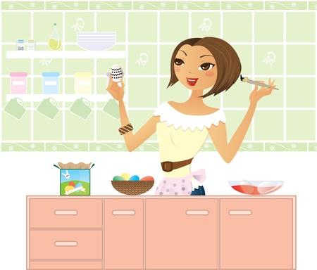 Modern mum in kitchen painting egg for Easter Stock Vector - 9147172
