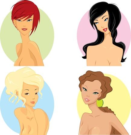 personalidad: Mujeres con peinado basado en su personalidad Vectores