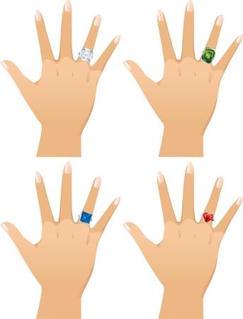 asscher: Diamond rings: asscher cut, emerald, princess and heart.