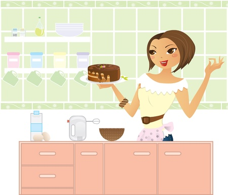 Woman in kitchen making a cake.