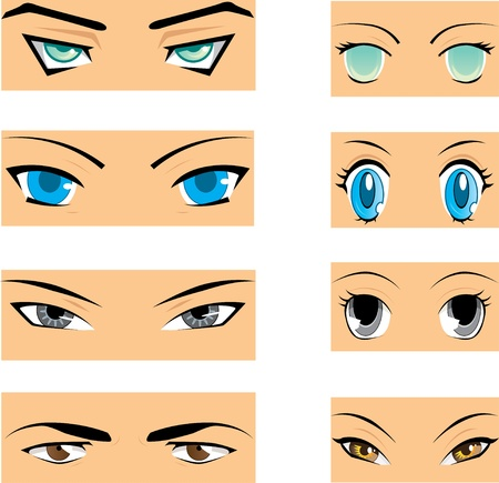 manga style: Set of different styles of manga eyes Illustration