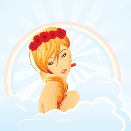 redhead girl: Mother Nature - Summer fairy  Illustration