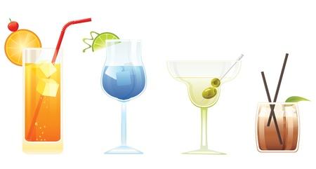 likeur: Tequila Sunrise, Blue Lagoon, Martini en El Diablo cocktails Stock Illustratie