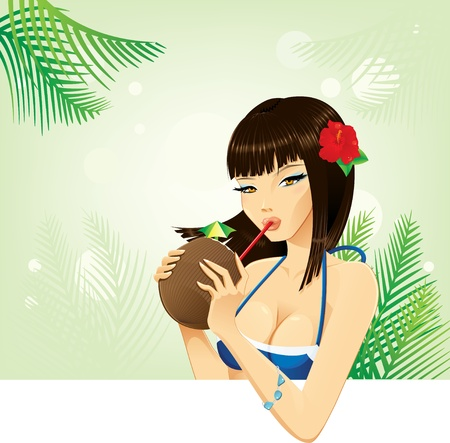 Beautiful exotic woman drinking coconut cocktail Illustration