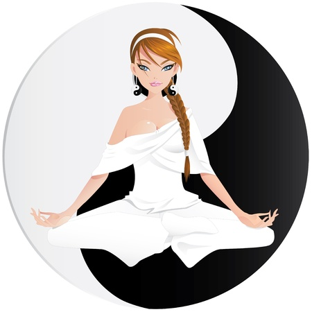 yinyang: Woman practicing yoga with yin yang symbol on separate layer